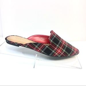 Red Tartan Plaid Mules - Tweed Slip On Flats